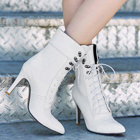 Trendy Lace-Up and Pointed Toe Design Women's Short Boots - WHITE 39
