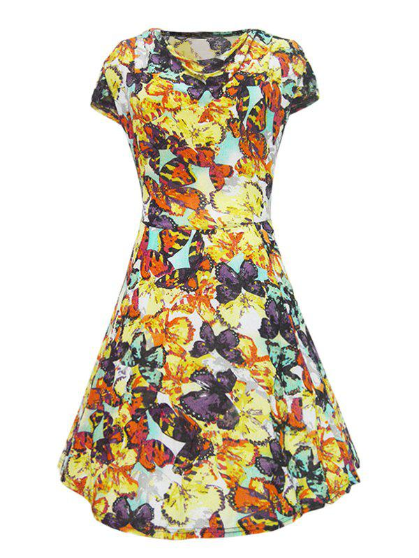 Retro Style Cowl Neck Butterfly Print Women's Dress - XL YELLOW