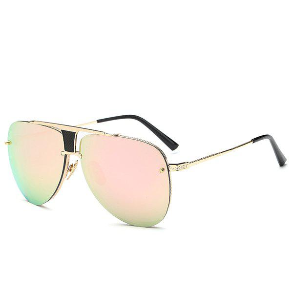 Fashion Frameless Pink Pilot Mirrored Sunglasses For Women - PINK