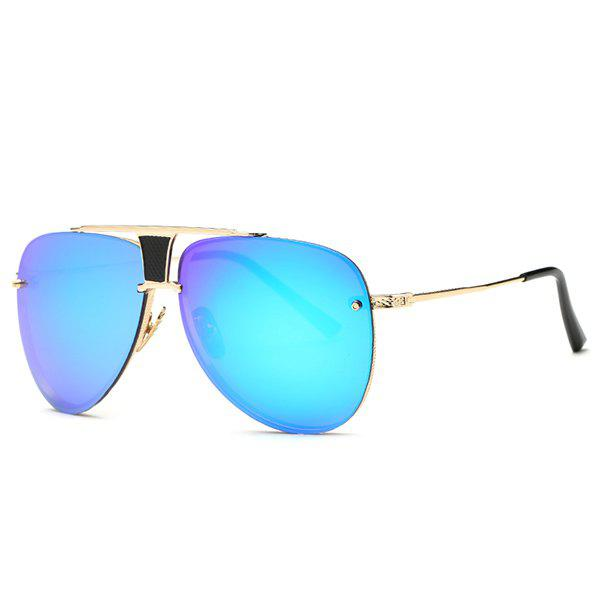 Fashion Frameless Pilot Mirrored Sunglasses - BLUE