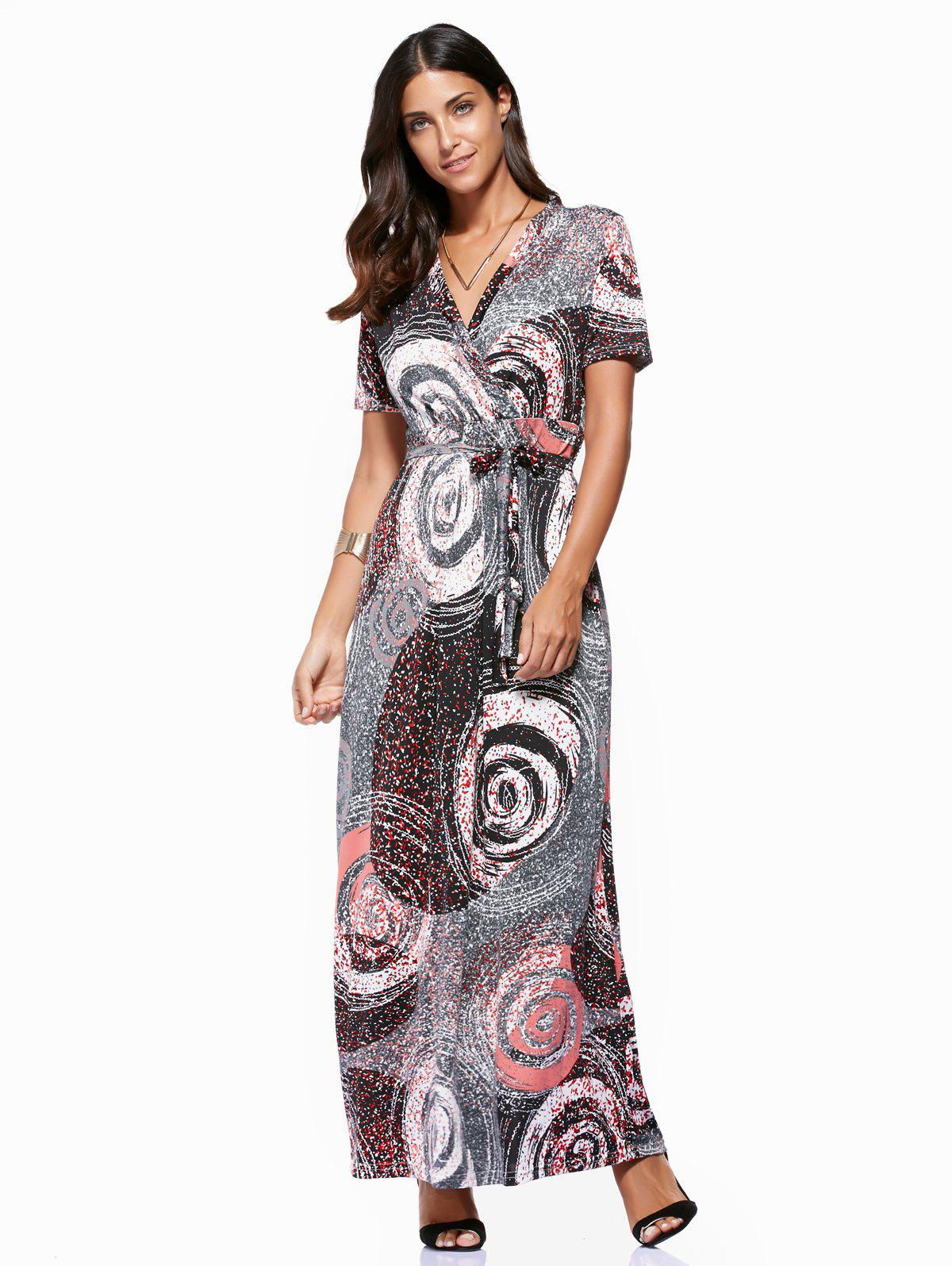 Trendy V-Neck Circle Print Plus Size Dress For Women - COLORMIX 5XL