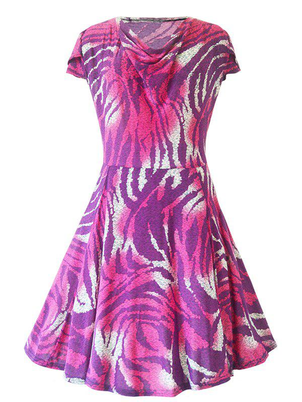 Charming Cowl Neck Ornate Printed Women's Dress - PURPLE XL