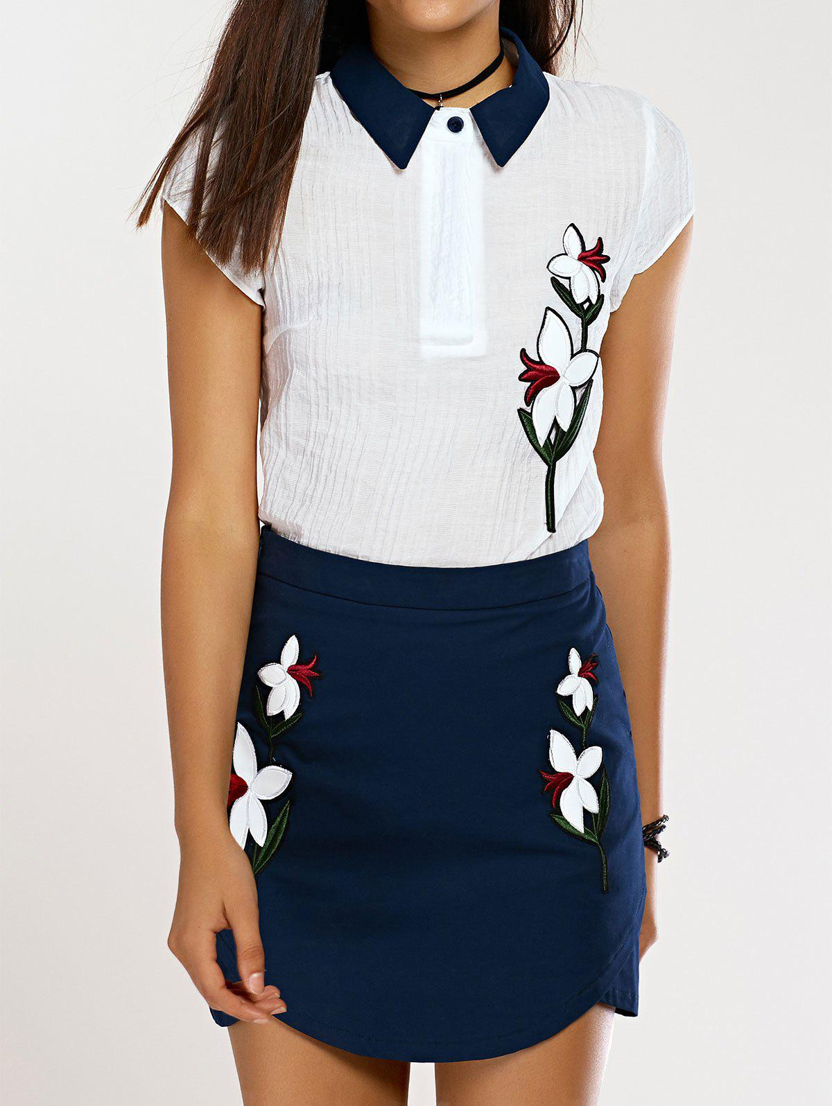 Flat Collar Top and Floral Print Skirt - CADETBLUE / WHITE L