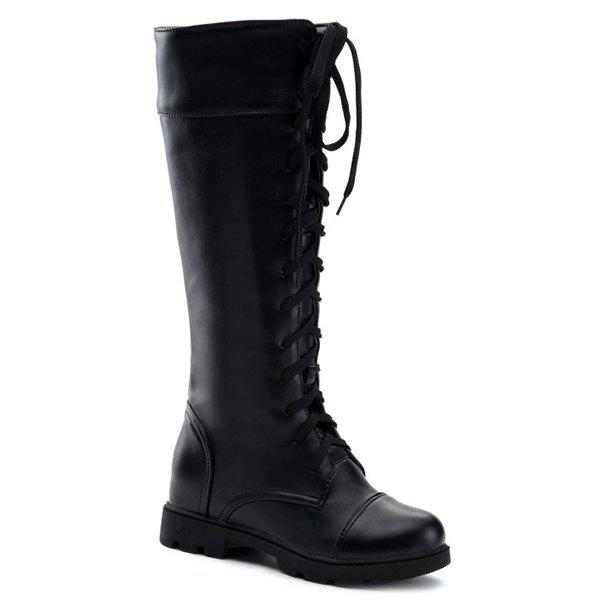 Trendy Flat Heel and Tie Up Design Women's Boots - BLACK 39