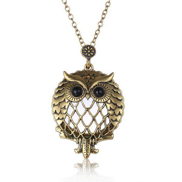 Retro Cut Out Owl Box Magnifying Glass Sweater Chain For Women