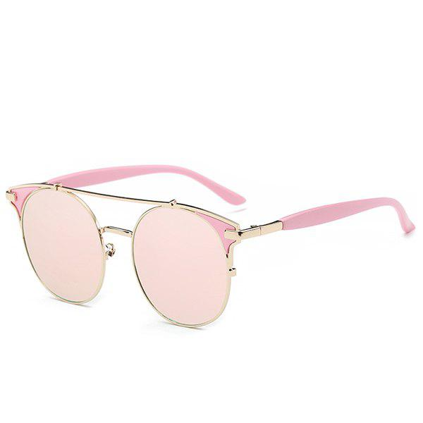 Fashion Crossbar Pink Cat Eye Mirrored Sunglasses For Women - SHALLOW PINK