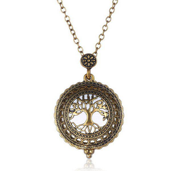 Vintage Cut Out Round Filigree Old Tree Magnifying Glass Sweater Chain For Women
