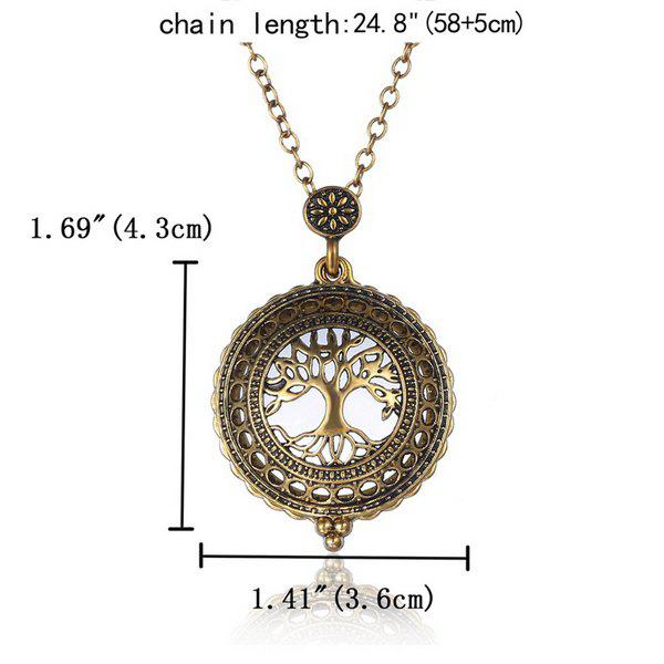 Hollowed Life Tree Magnifying Glass Sweater Chain - COPPER COLOR