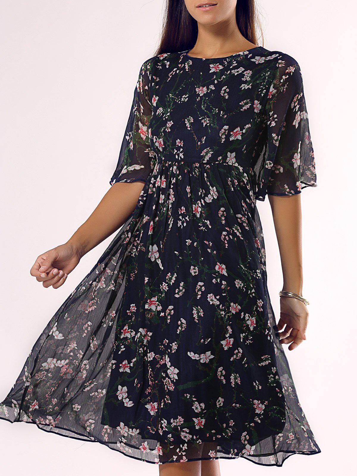 Chic Round Neck Floral Midi Dress - DEEP BLUE 3XL