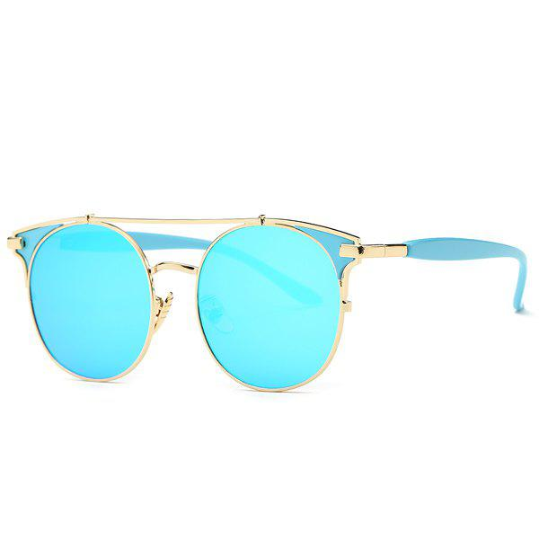 Fashion Crossbar Cat Eye Mirrored Sunglasses For Women - BLUE