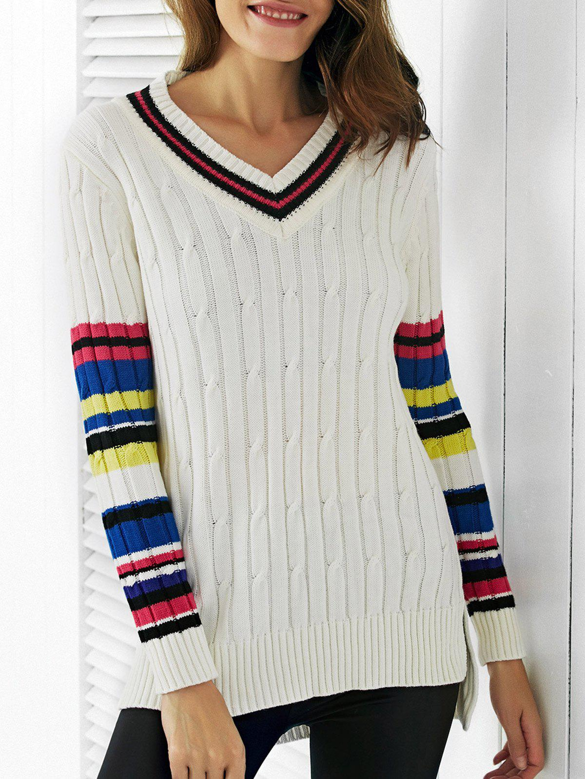 Trendy V-Neck Color Block Ribbed Women's Sweater - WHITE ONE SIZE