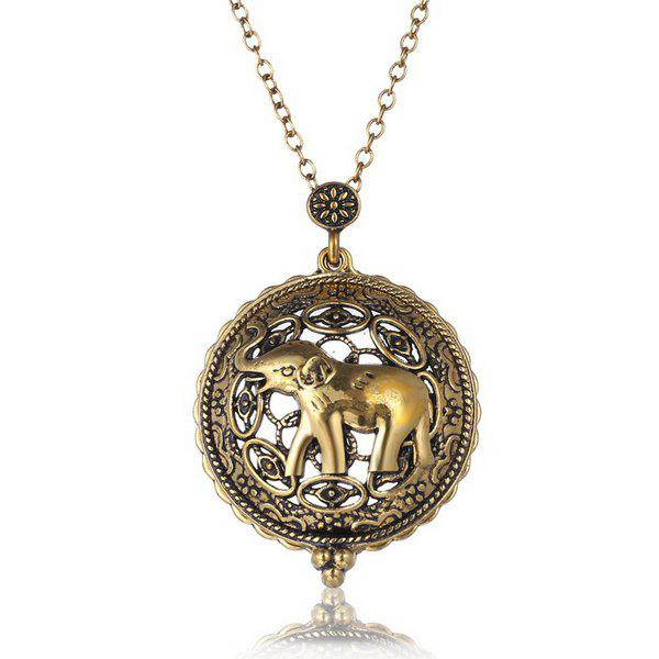 Retro Cut Out Elephant Charm Magnifying Glass Sweater Chain For Women