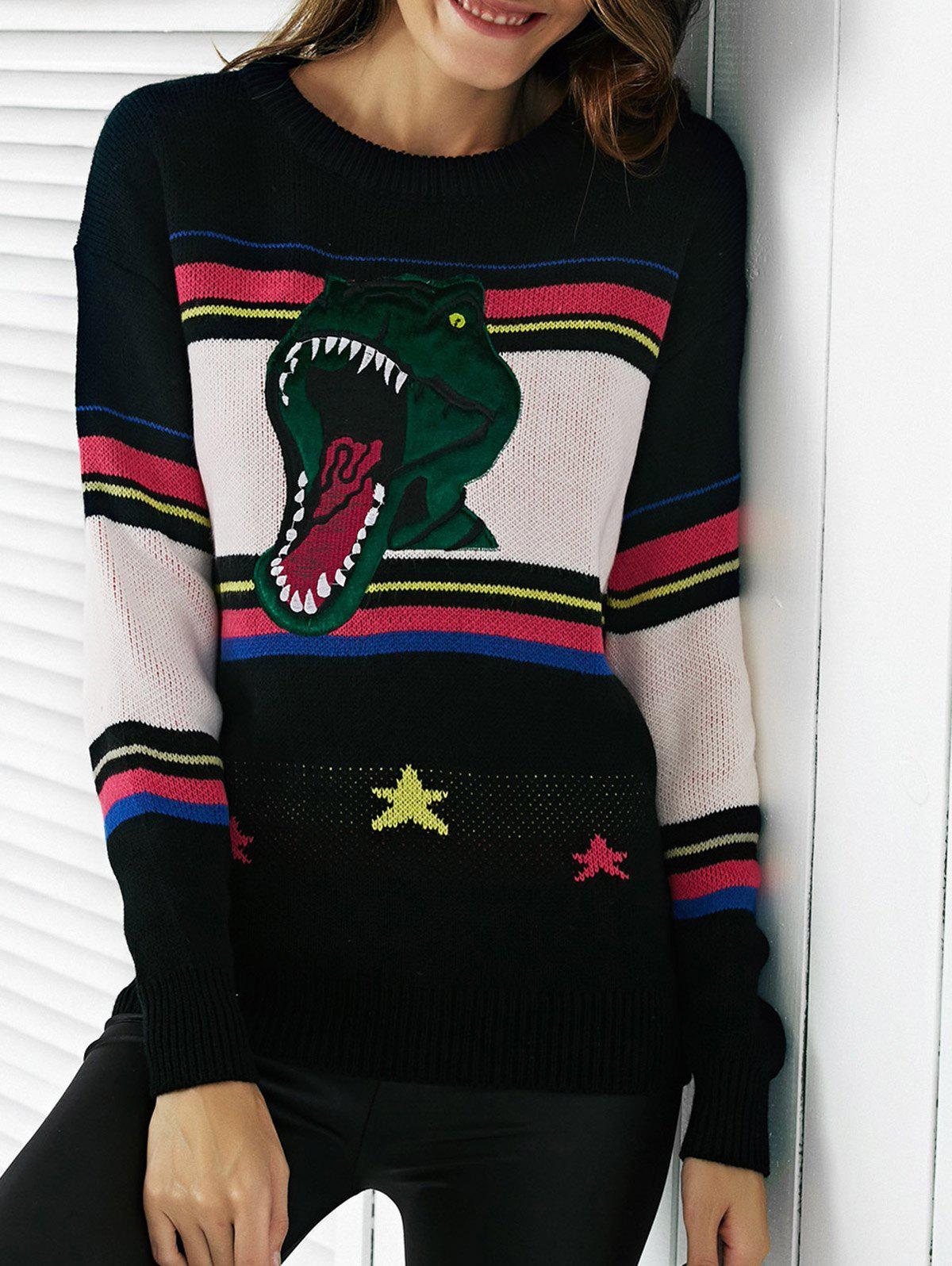 Chic Color Block Embroidery Women's Sweater - BLACK 2XL