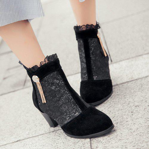 Trendy Lace and Chunky Heel Design Women's Ankle Boots
