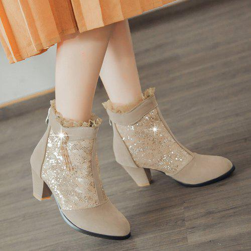 Trendy Lace and Chunky Heel Design Women's Ankle Boots - LIGHT KHAKI 43