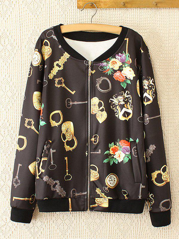 Oversized Sweet Key and Flower Print Jacket - BLACK 4XL