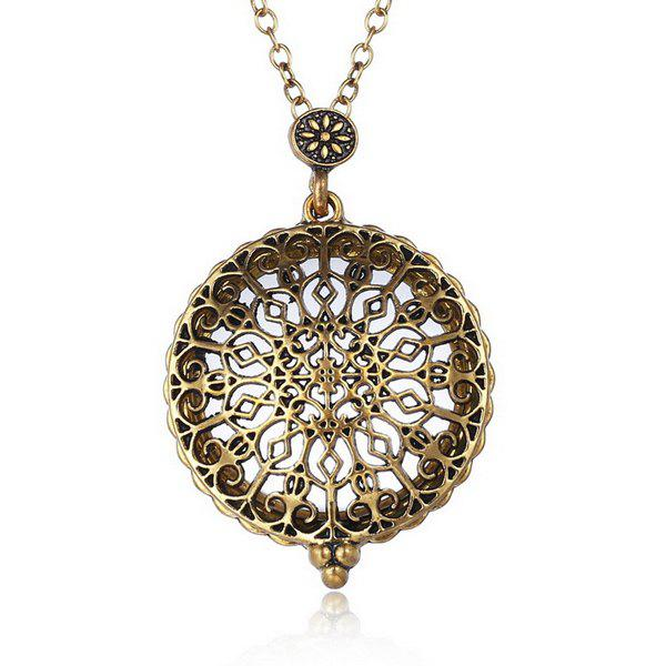Vintage Cut Out Carved Alloy Floral Round Magnifying Glass Sweater Chain For Women