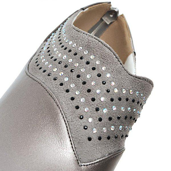 Fashionable Splicing and Rhinestones Design Women's Ankle Boots - GRAY 39