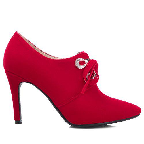 Trendy Lace-Up and Pointed Toe Design Women's Pumps - RED 43