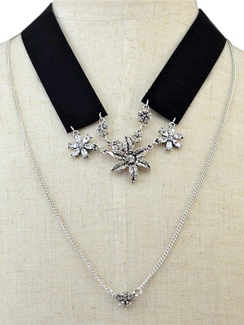 Black Band Rhinestone Flower Layered Necklace - SILVER