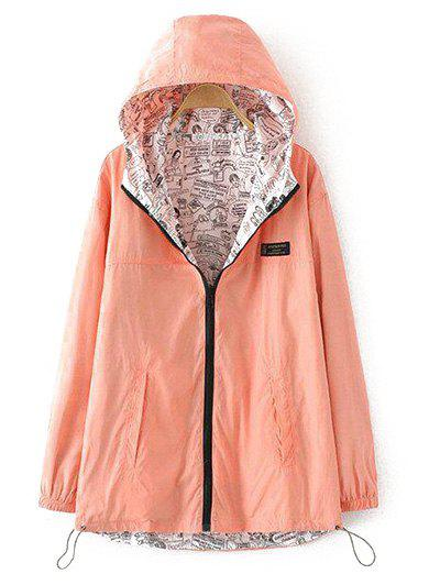 Plus Size Reversible Long Jacket with Hood - ORANGEPINK XL