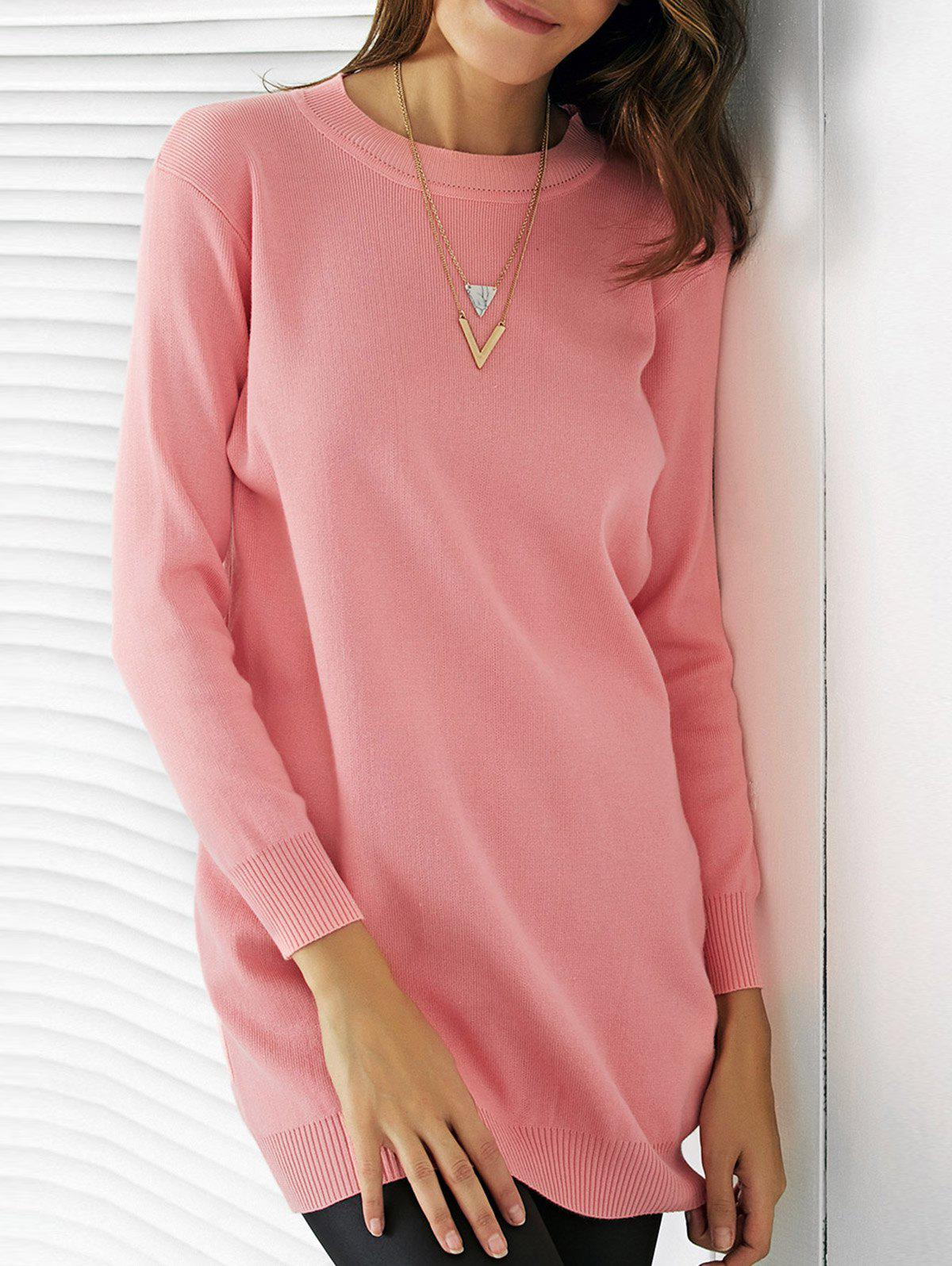 Trendy Round Neck Solid Color Slimming Women's Dress - PINK ONE SIZE