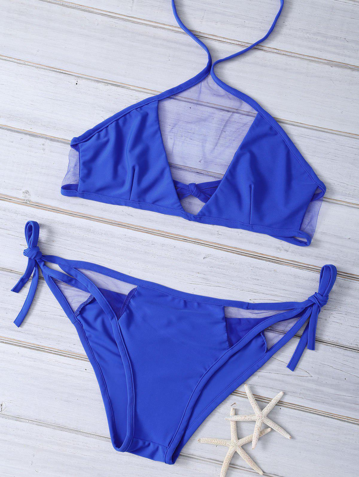 Mesh Spliced Blue Halter Bikini Set - SAPPHIRE BLUE XL