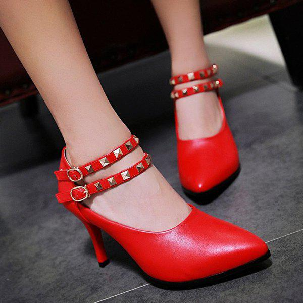 Trendy Metal Rivets and Ankle Strap Design Women's Pumps - RED 39