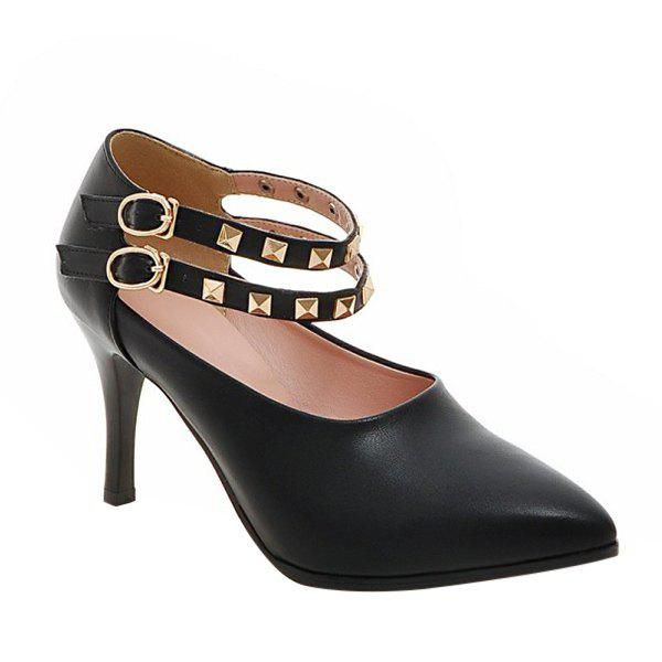 Trendy Metal Rivets and Ankle Strap Design Women's Pumps - BLACK 38