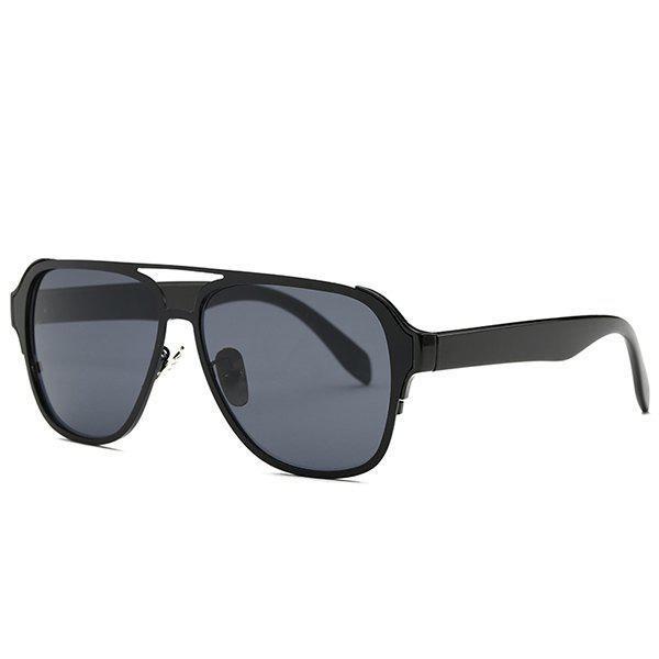 Fashion Cut Out Full Frame Pilot Sunglasses - BLACK GREY