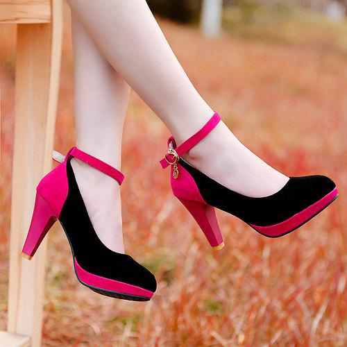 Stylish Color Block and Ankle Strap Design Women's Pumps - BLACK 43