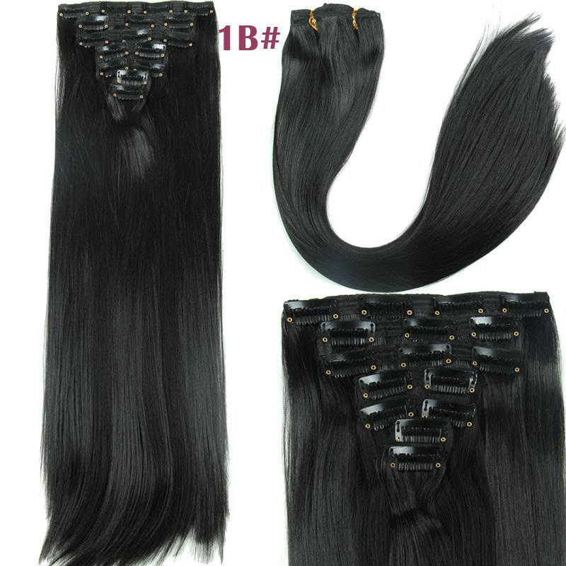 Women's Long Straight Clip-In Synthetic Stylish Hair Extension - JET BLACK