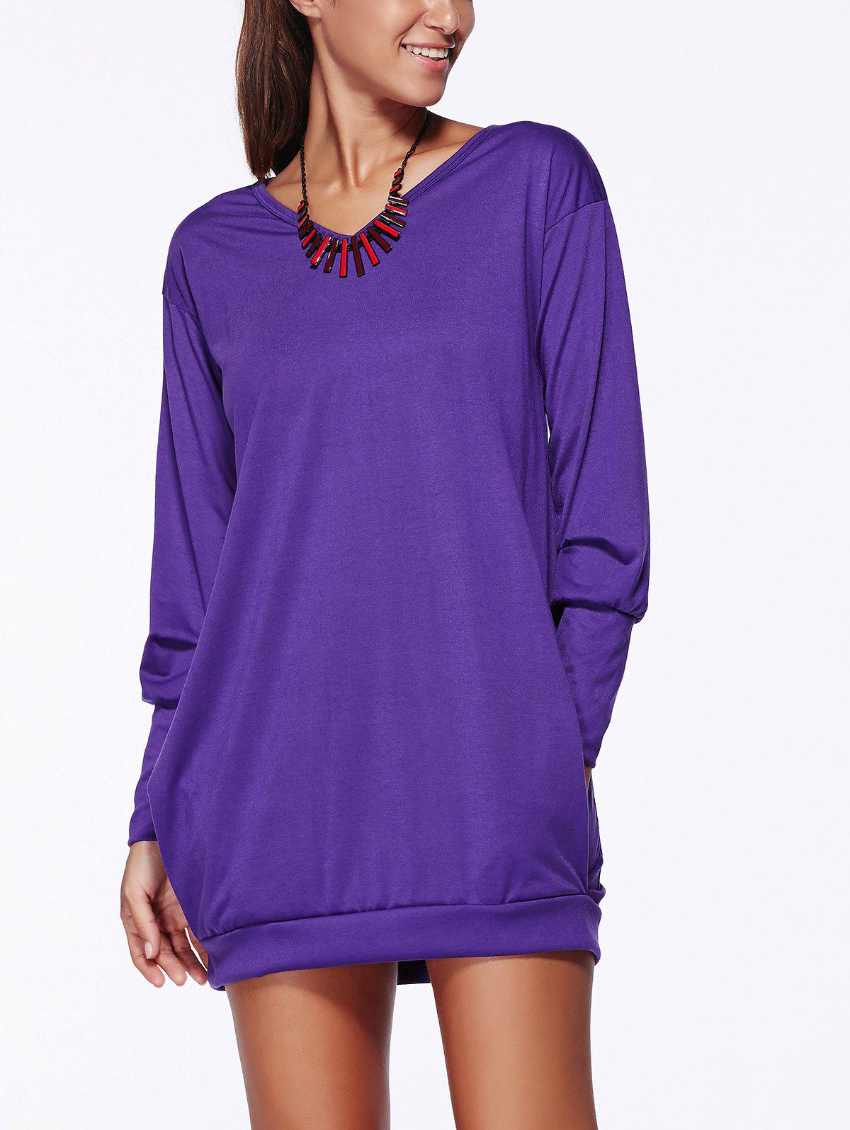Stylish V Neck Long Sleeve Pocket Design Solid Color Women's Dress - S PURPLE