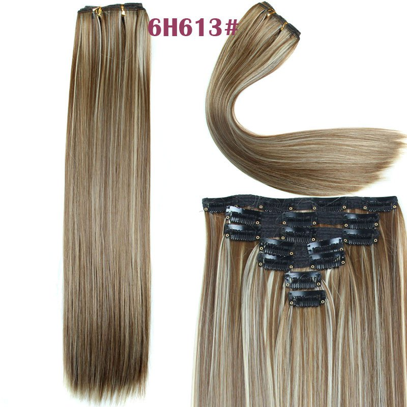 Women's Long Straight Clip-In Synthetic Stylish Hair Extension - BROWN/BLONDE