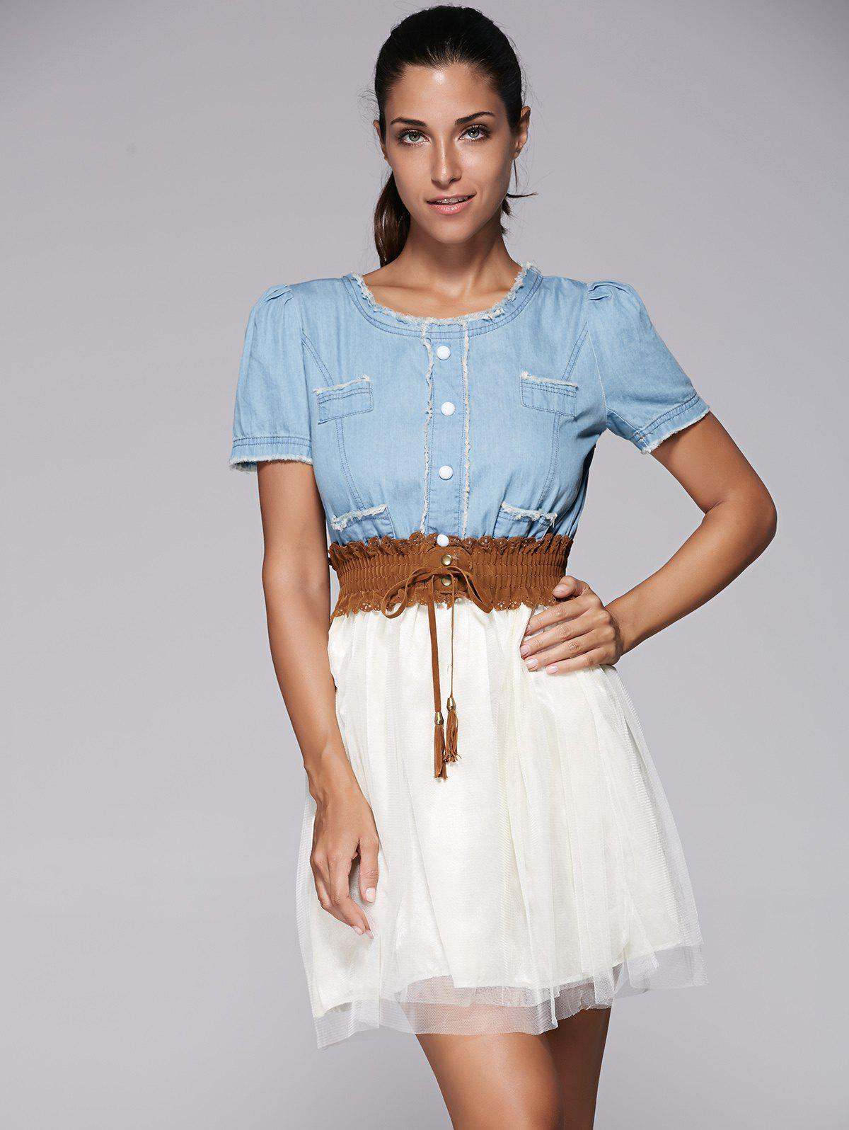 Elegant Denim Splicing Chiffon Dress With Belt For Women - BLUE S