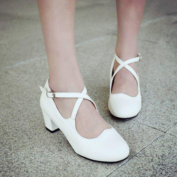 Sweet Cross Strap and Round Toe Design Women's Pumps - WHITE 39