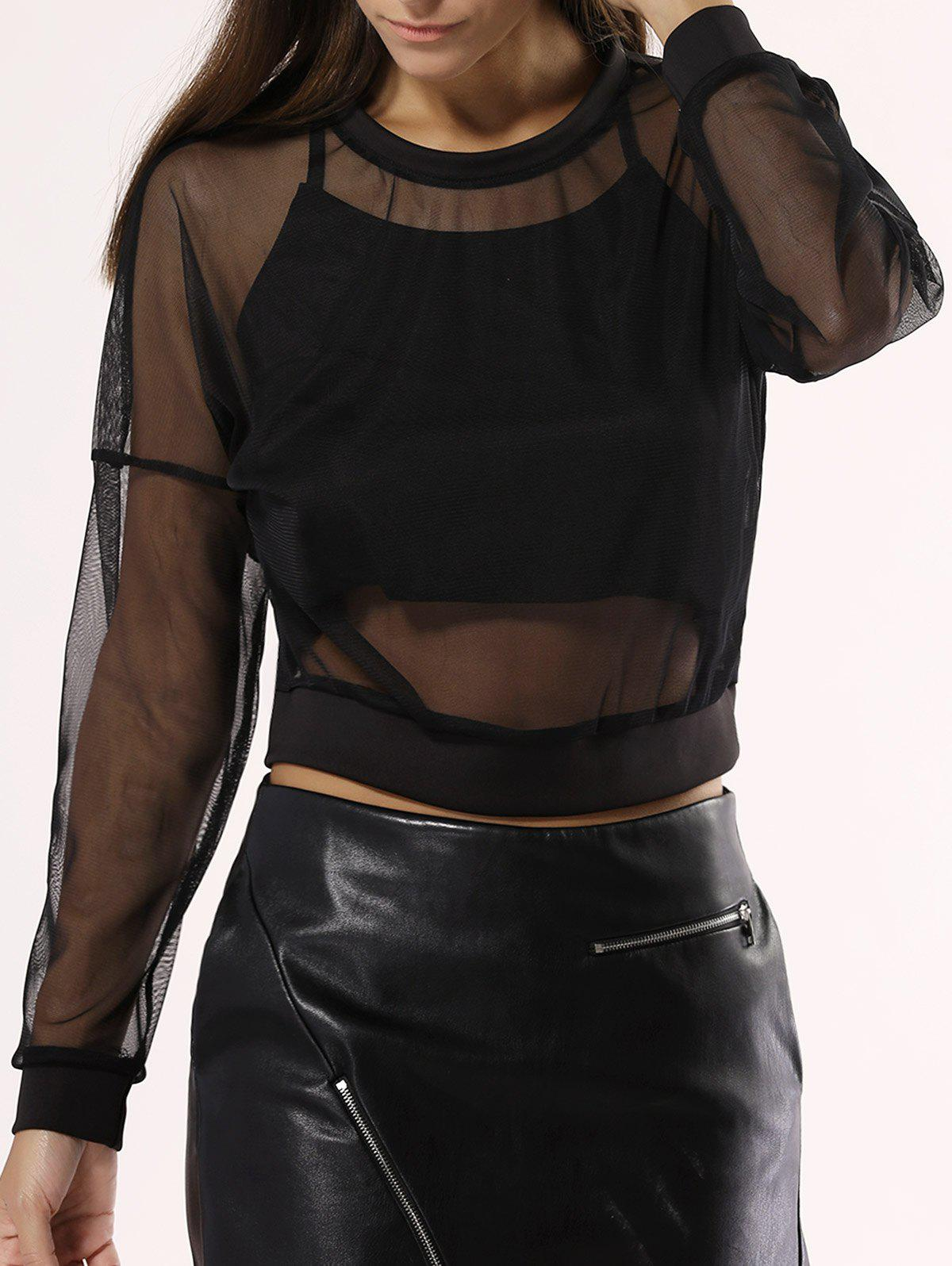 See-Through Mesh Blouse For Women
