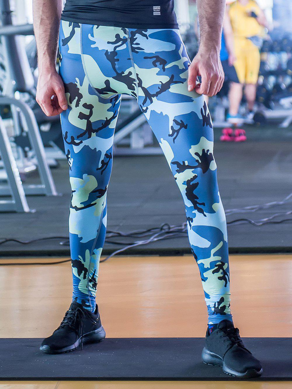 Fitted Quick-Dry Camouflage Pattern Elastic Waist Men's Gym Pants - BLUE XL
