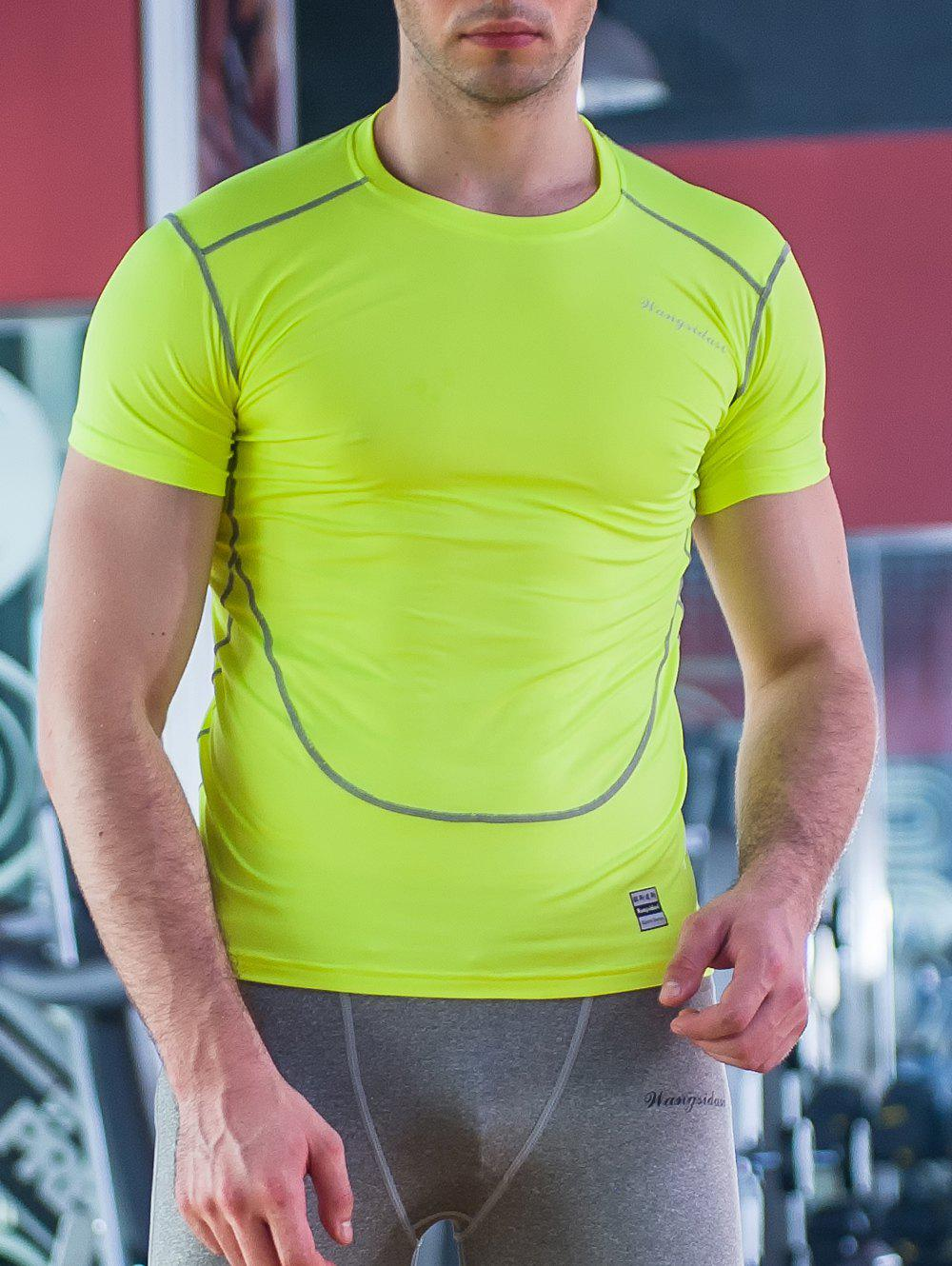 Round Neck Linellae Design Fitted Quick-Dry Short Sleeve Men's T-Shirt - NEON GREEN XL