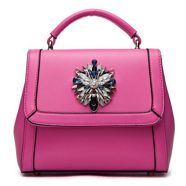 Fashionable Rhinestones and Solid Colour Design Women's Tote Bag - ROSE MADDER