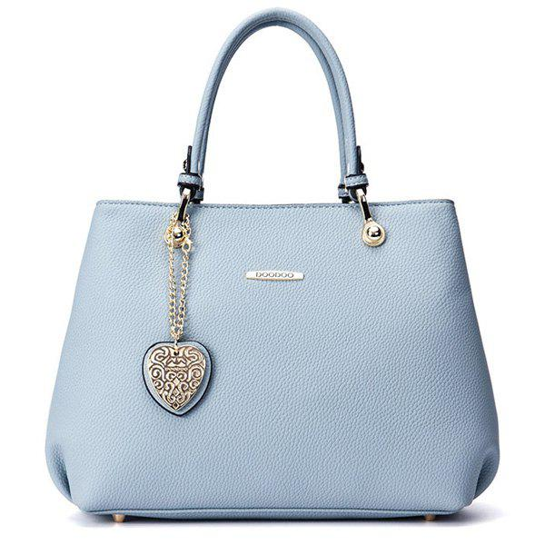 Elegant Solid Colour and Metal Design Womne's Tote Bag - BLUE GRAY