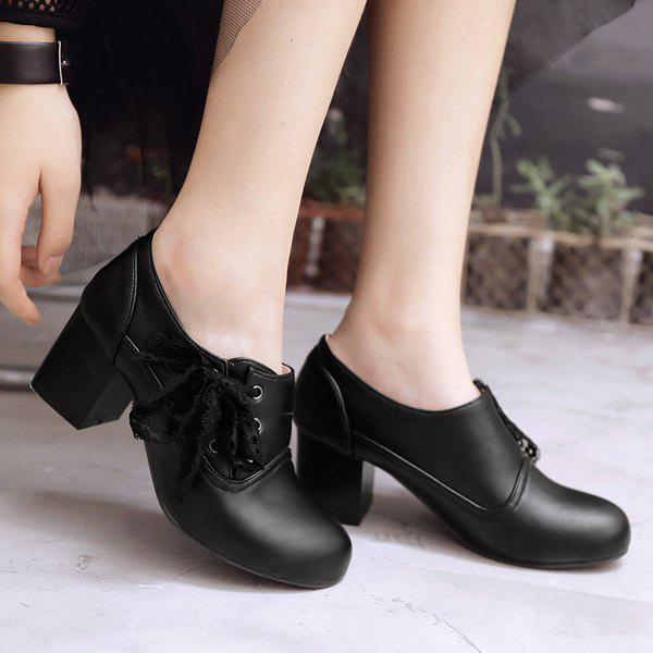 Sweet Lace and Chunky Heel Design Women's Ankle Boots - BLACK 43