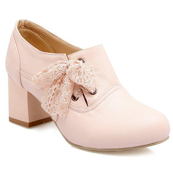 Sweet Lace and Chunky Heel Design Women's Ankle Boots - PINK 37