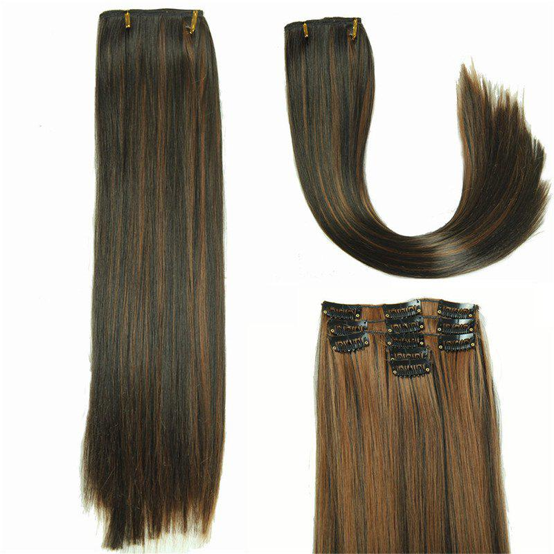 Women's Long Straight Clip-In Synthetic Glossy Hair Extension - BLACK/BROWN
