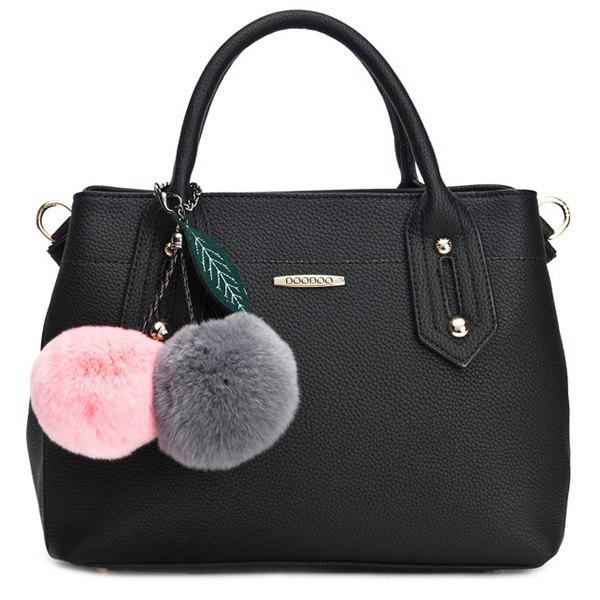 Trendy Metal and Solid Colour Design Women's Tote Bag - BLACK