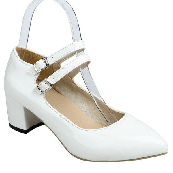 Point Toe Double Buckles Pumps - WHITE 39