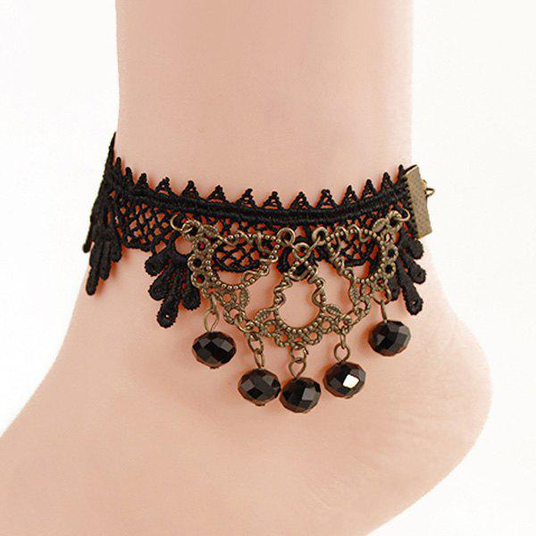 Vintage Hollow Out Black Lace Crochet Faux Crystal Anklet For Women