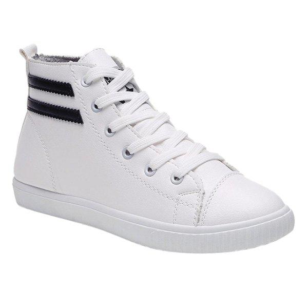 Leisure Lace-Up and Round Toe Design Women's Athletic Shoes - WHITE 39