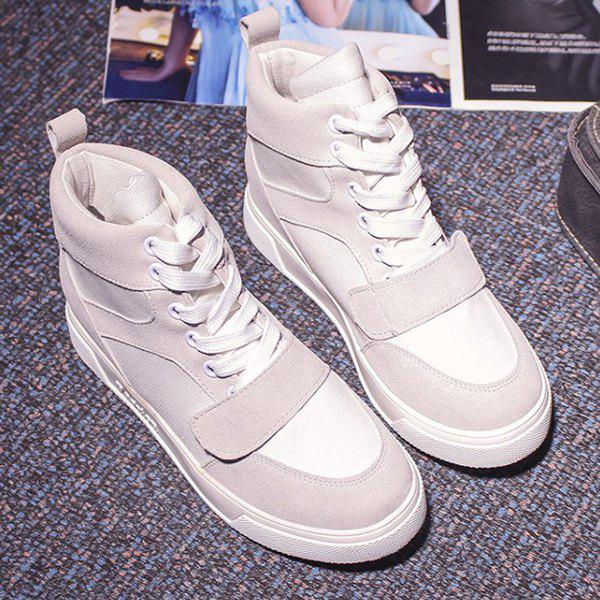 Casual Lace-Up and Suede Design Women's Athletic Shoes - GRAY 39