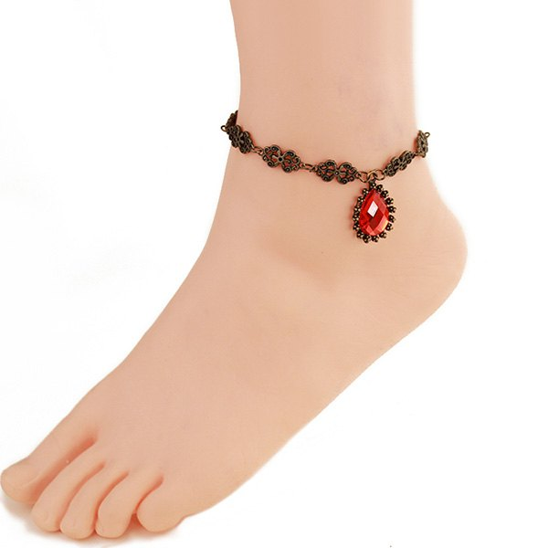 Retro Floral Hollow Faux Ruby Anklet For Women